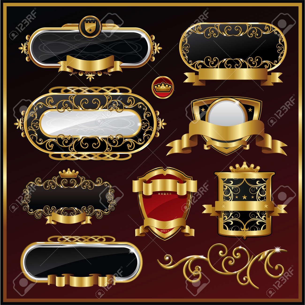 ed22887728f vector set  black gold-framed labels Stock Vector - 8698045