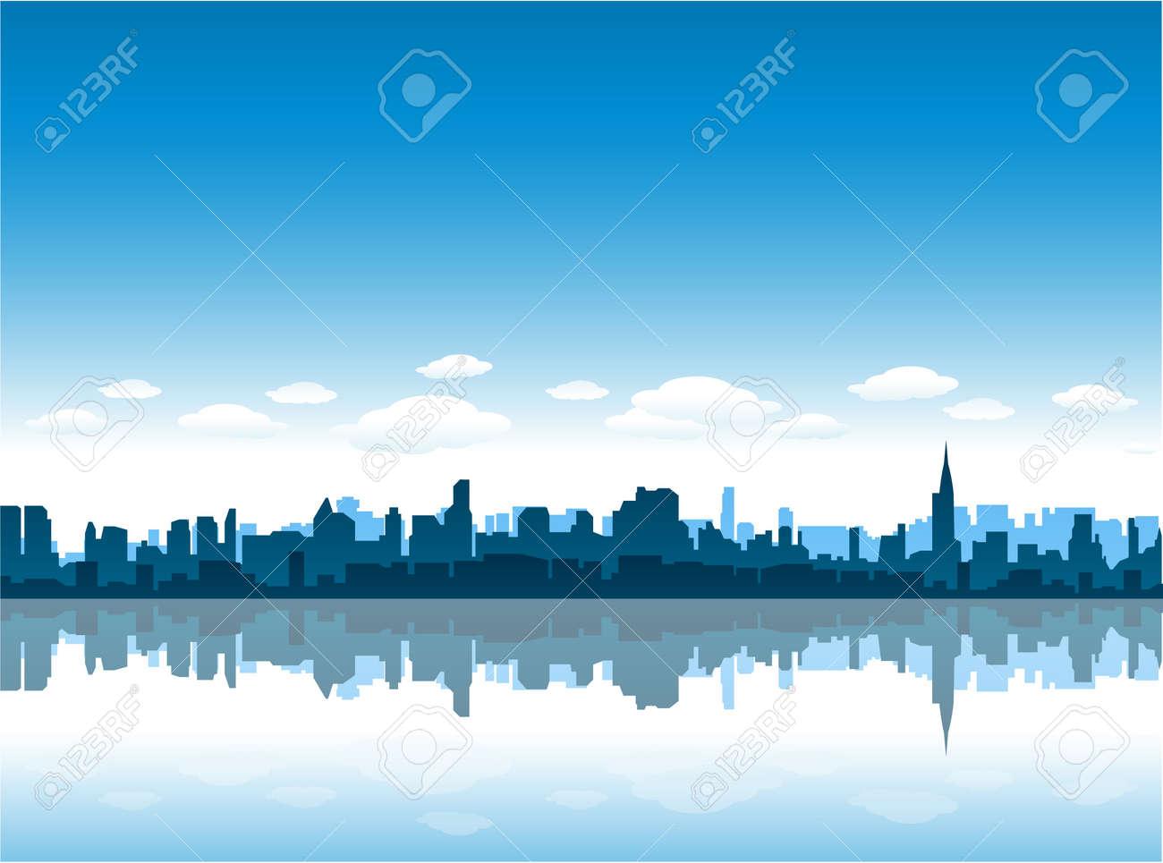 new york city skyline reflect on water Stock Vector - 8689574