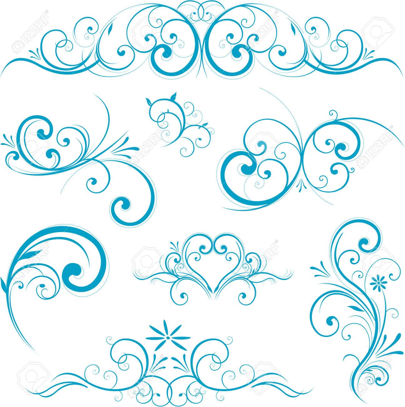 blue swirl design ornaments - 8688097
