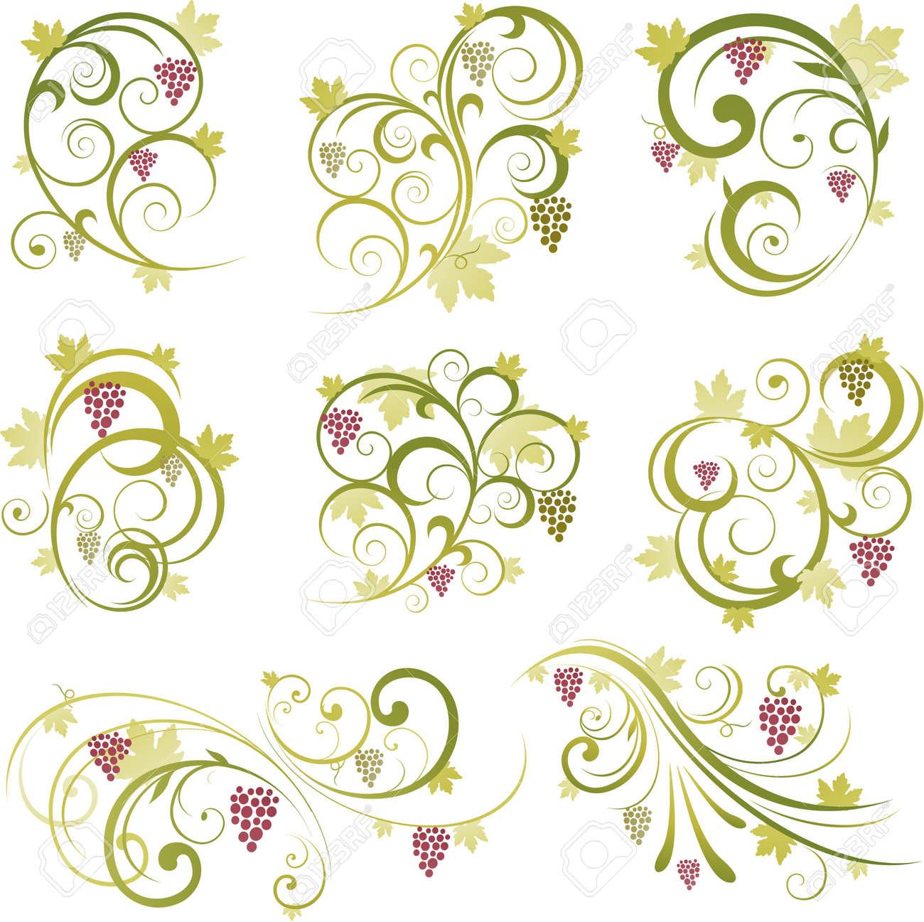 wine grape deisgn elements Stock Vector - 8688102
