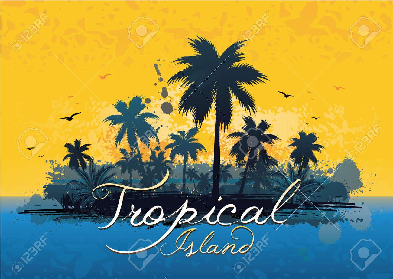 grunge tropical island Stock Vector - 8785094
