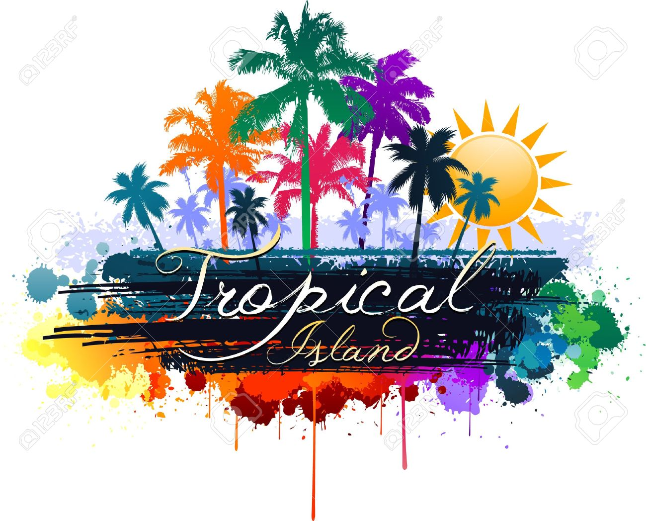 colorful tropical summer design royalty free cliparts vectors and