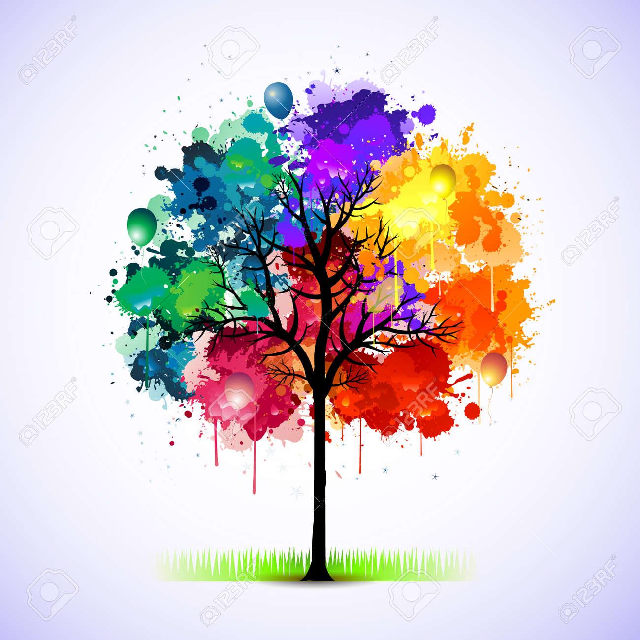 Paint splat tree Stock Vector - 9934557