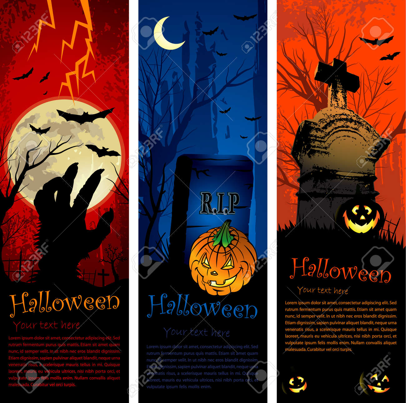 Vertical Copy Space Halloween Party Invitation Banners Royalty ...