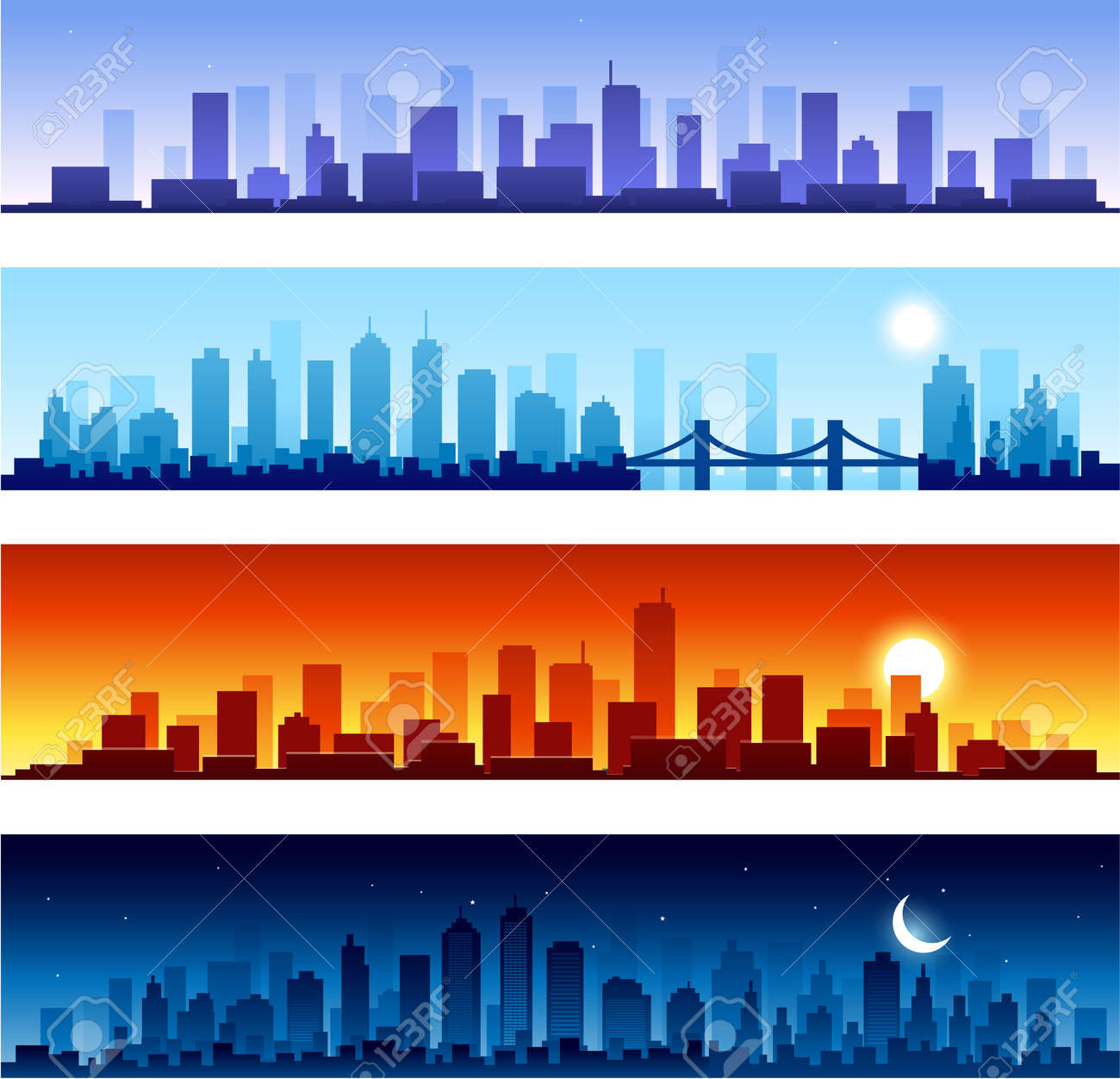 cityscapes at different time of the day Stock Vector - 14109027