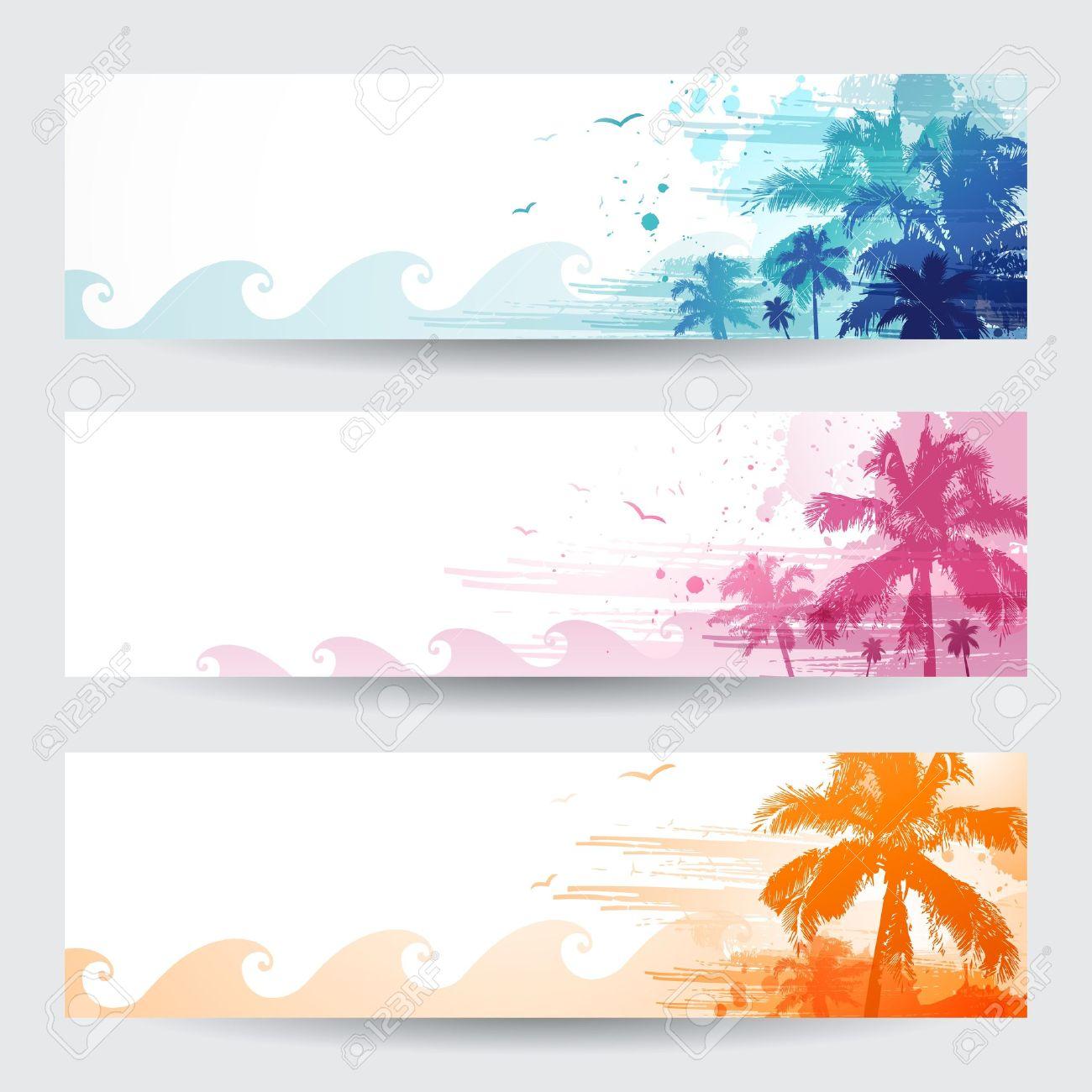 banderas del verano tropical de diseo con palmera foto de archivo