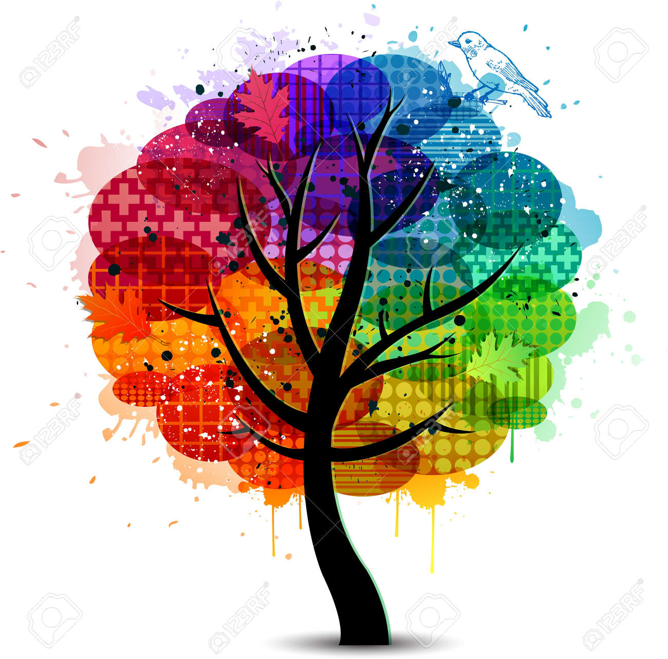 abstract colorful tree design background and banner stock vector 14578946