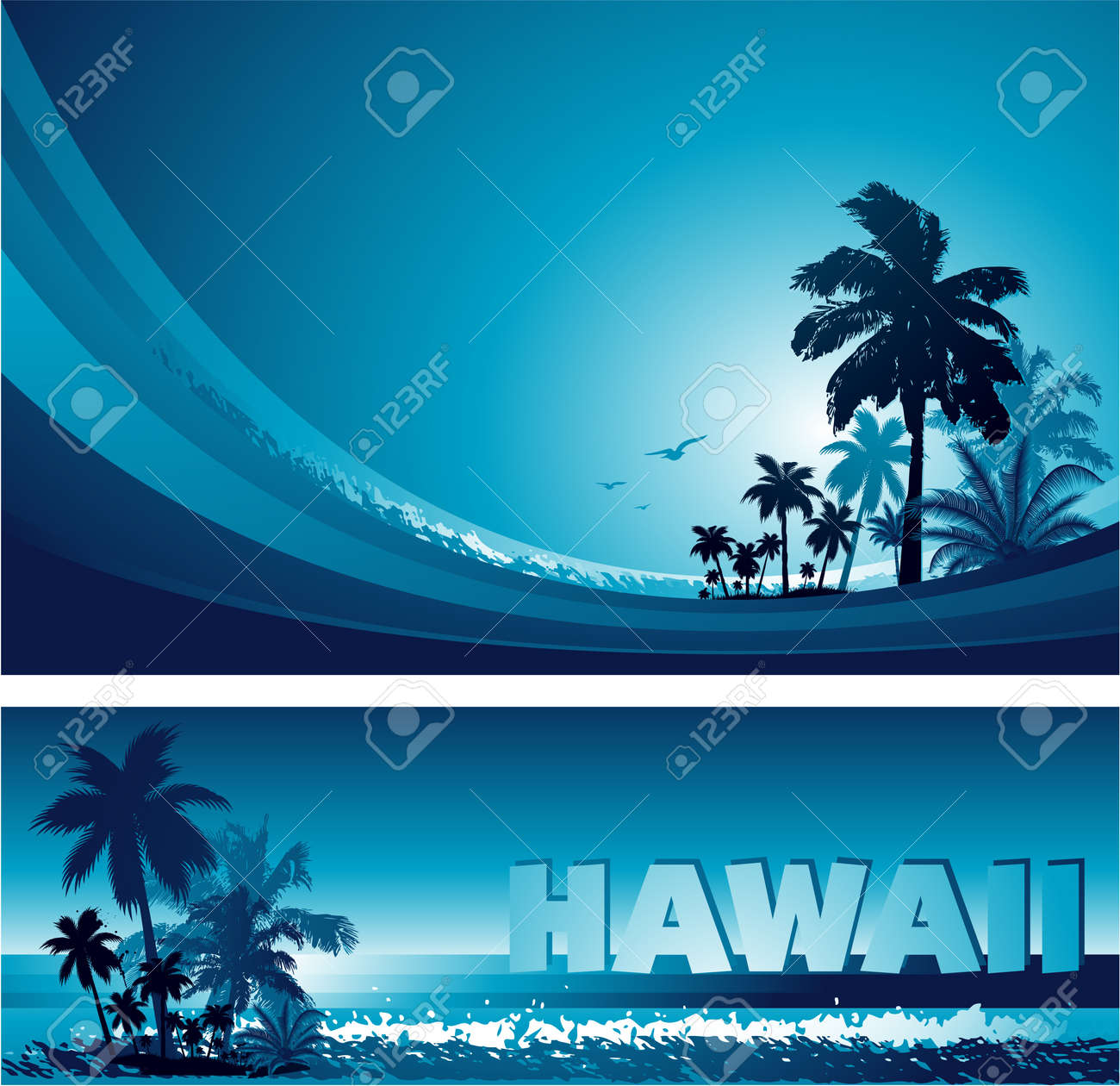 abstract colorful blue tropical background and banner Stock Vector - 14578950