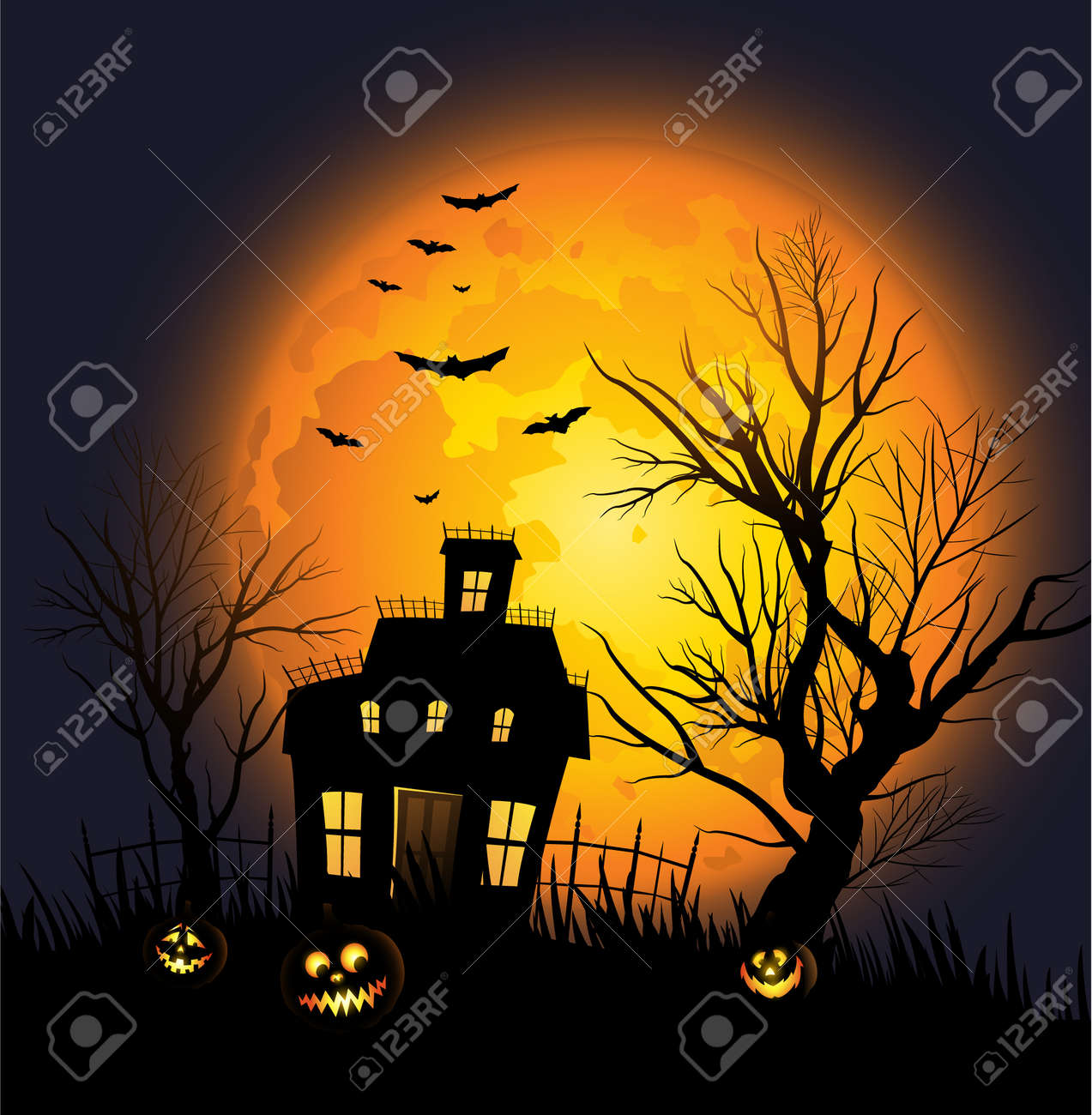 Halloween background with haunted house and creepy tree Stock Vector - 14812059