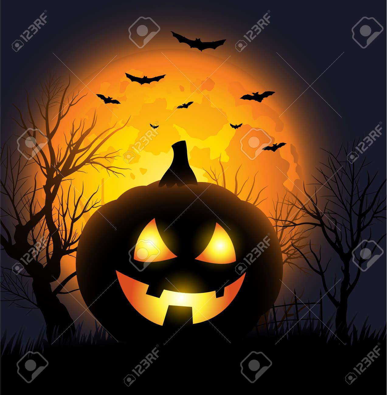 Scary Jack o lantern face Halloween background Stock Vector - 15136242