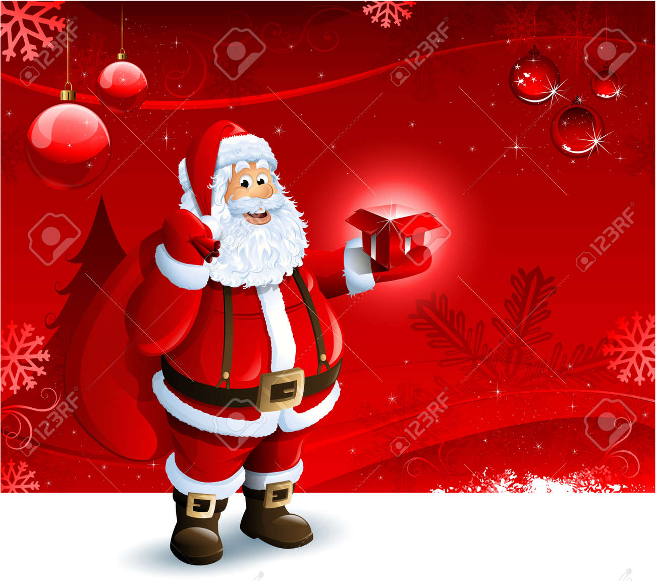 Santa Claus holding a gift box on red Christmas ornament background Stock Vector - 15136241