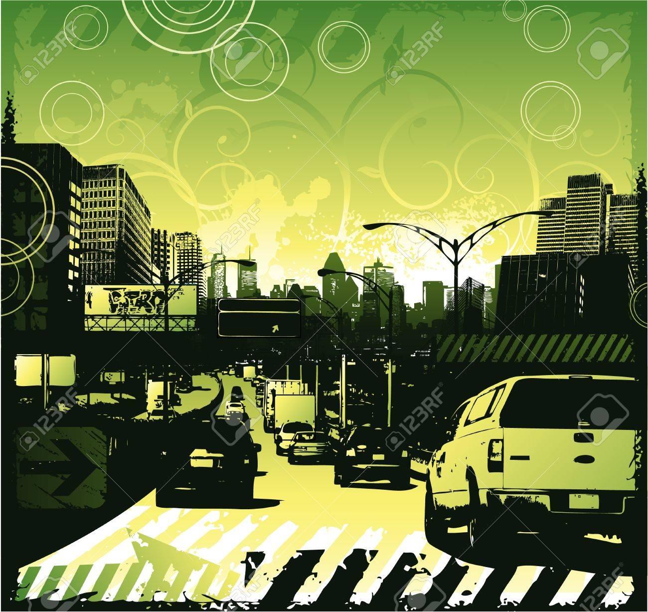 Traffic jam urban design Stock Vector - 17305235
