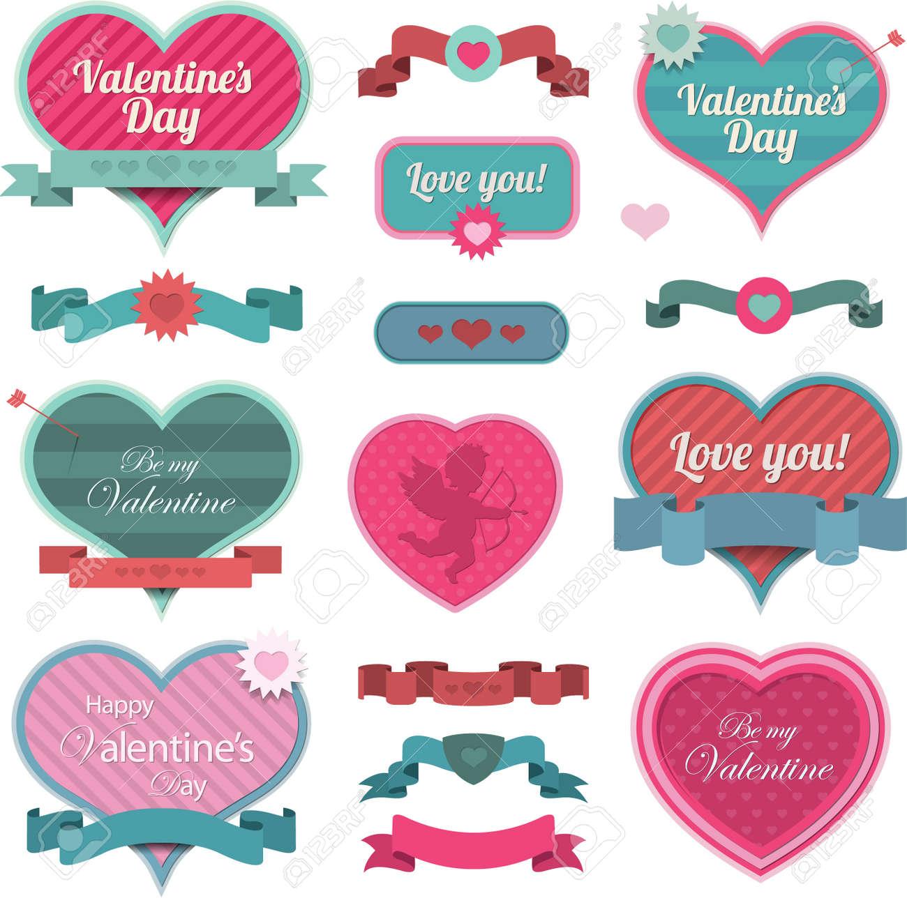 San Valentin Decoracion En Forma De Corazon Y Cintas Ilustraciones - Decoracion-san-valentin