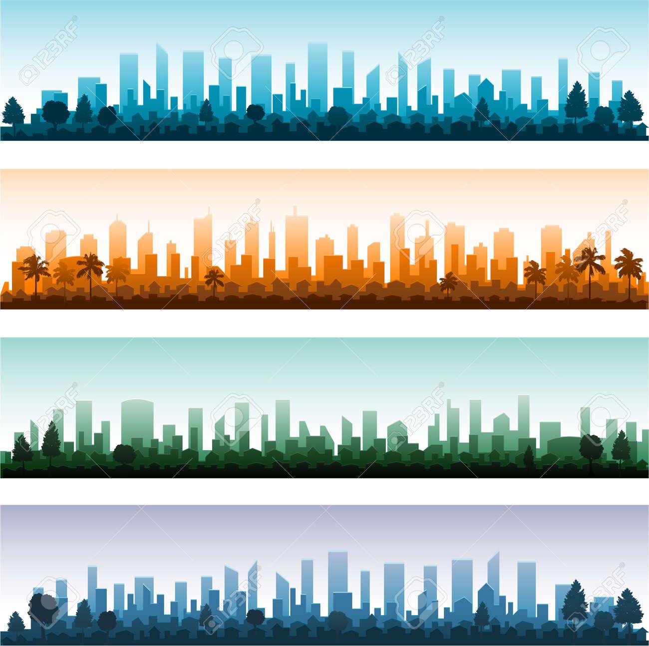 Cityscape silhouette city panoramas Stock Vector - 18537346