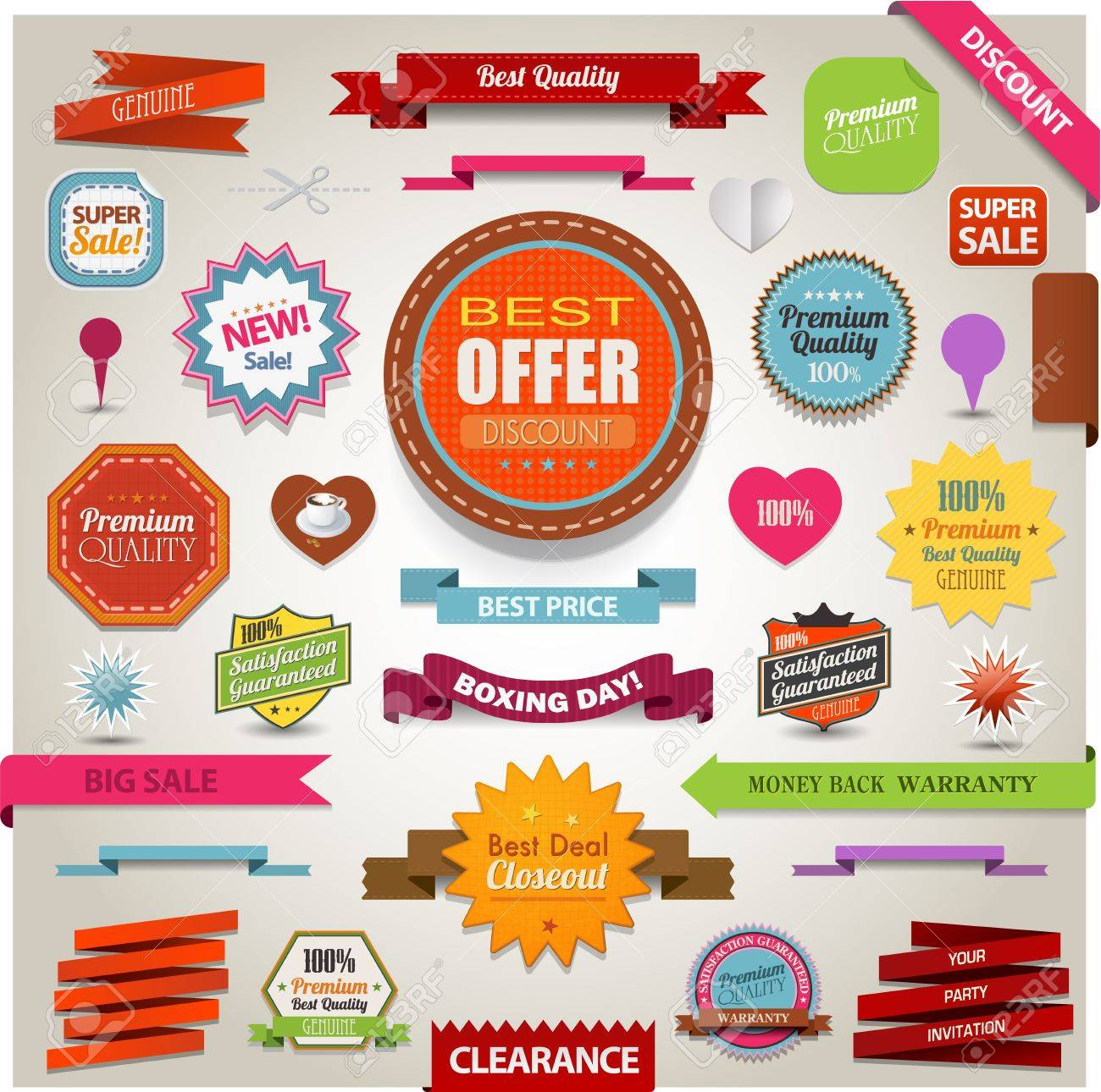 Retro ribbons vintage labels banners and emblems Stock Vector - 19942031
