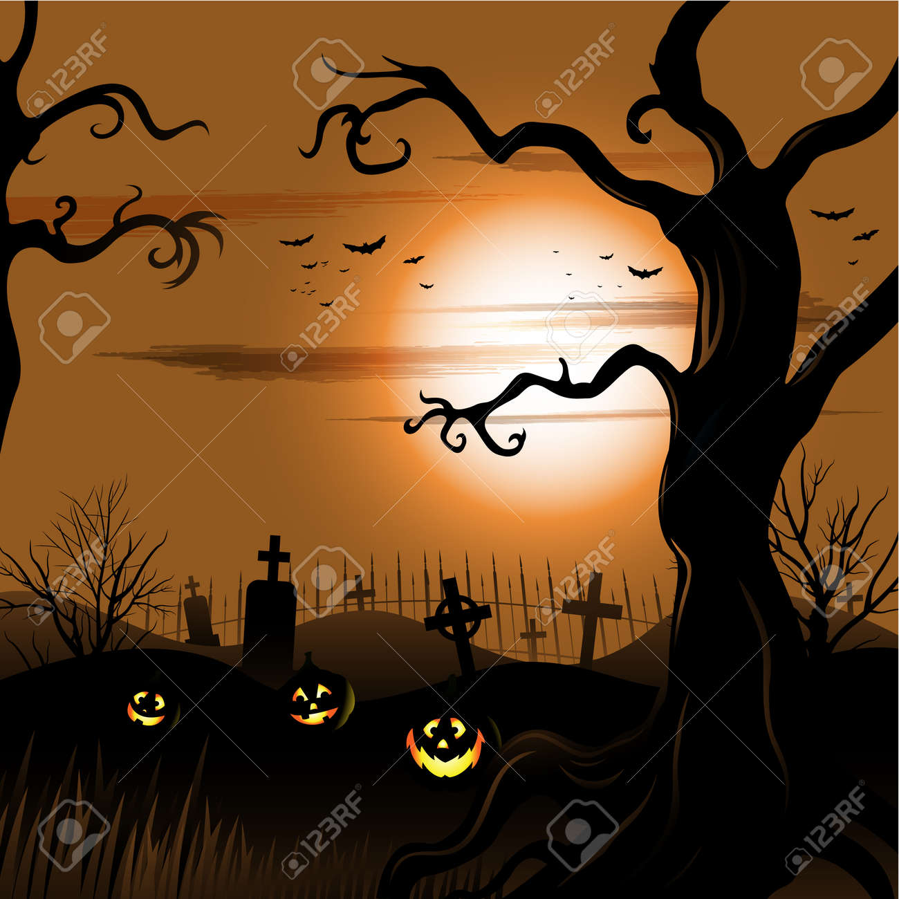 Creepy tree Halloween background with moon and cemetery Stock Vector - 21896216