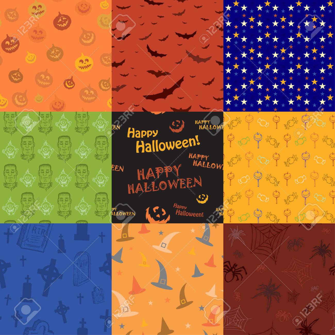 Nine Halloween texture pattern collection set Stock Vector - 22800626