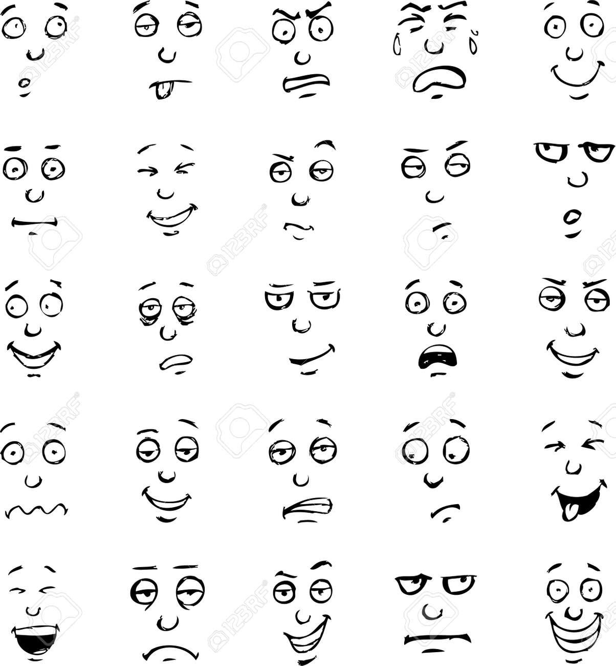 Exceptionnel Face Cartoon émotions Dessiné à La Main Set Clip Art Libres De  OO59