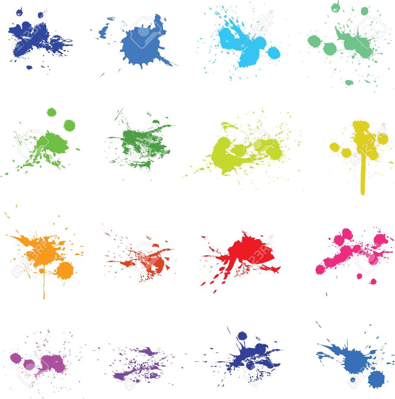 conjunto de color de la pintura de tinta splat foto de archivo