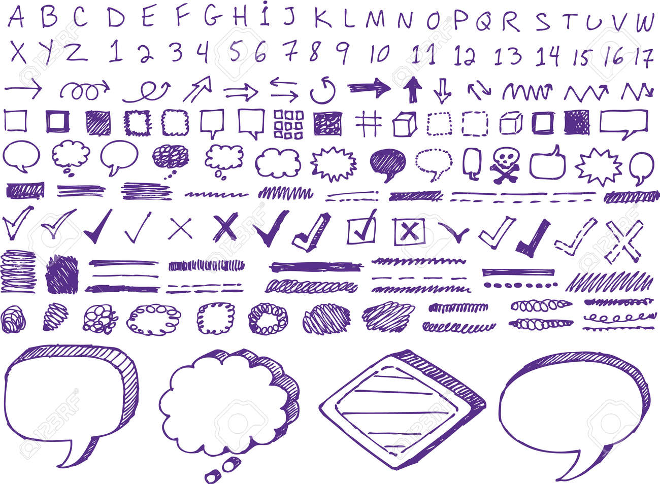 Set of hand-drawn isolated highlighter elements - 32085632