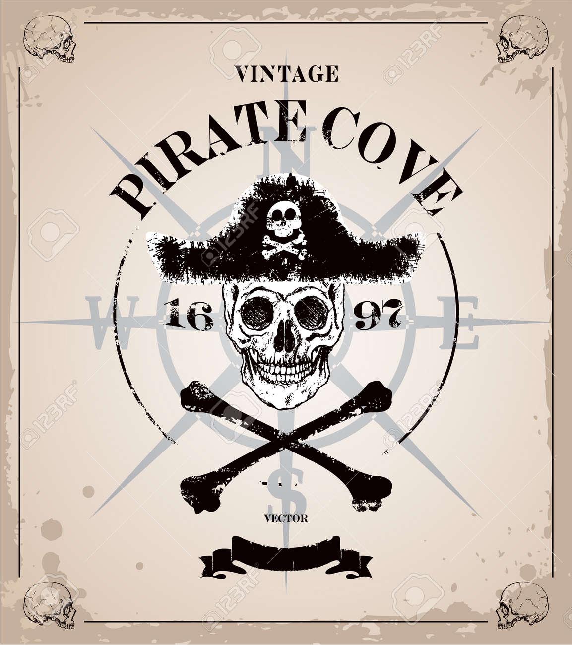 Vintage Piraten Schädel-Frame-Hintergrund Lizenzfrei Nutzbare ...