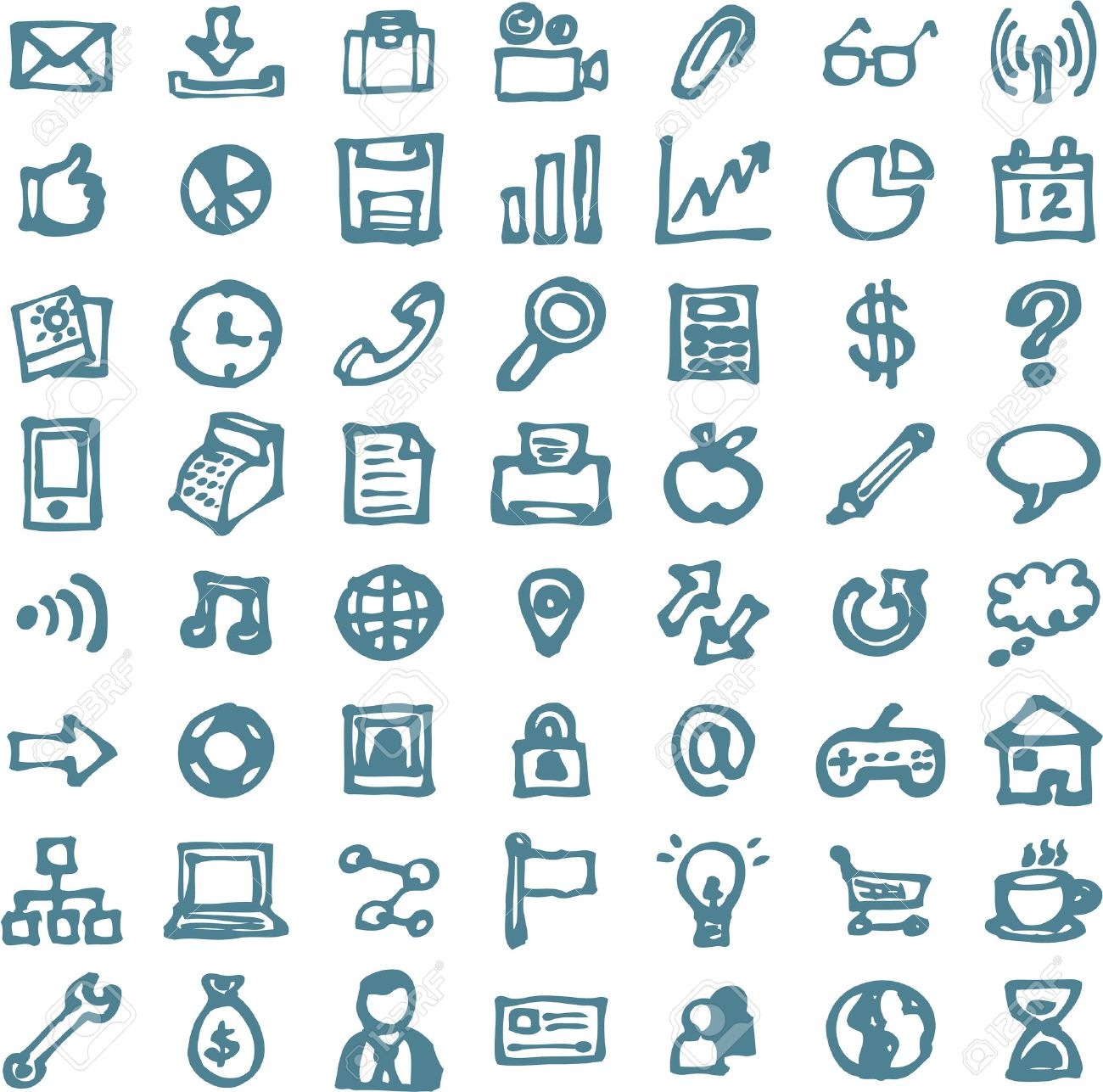 Blue business hand drawn doodles highligher icons - 32287742