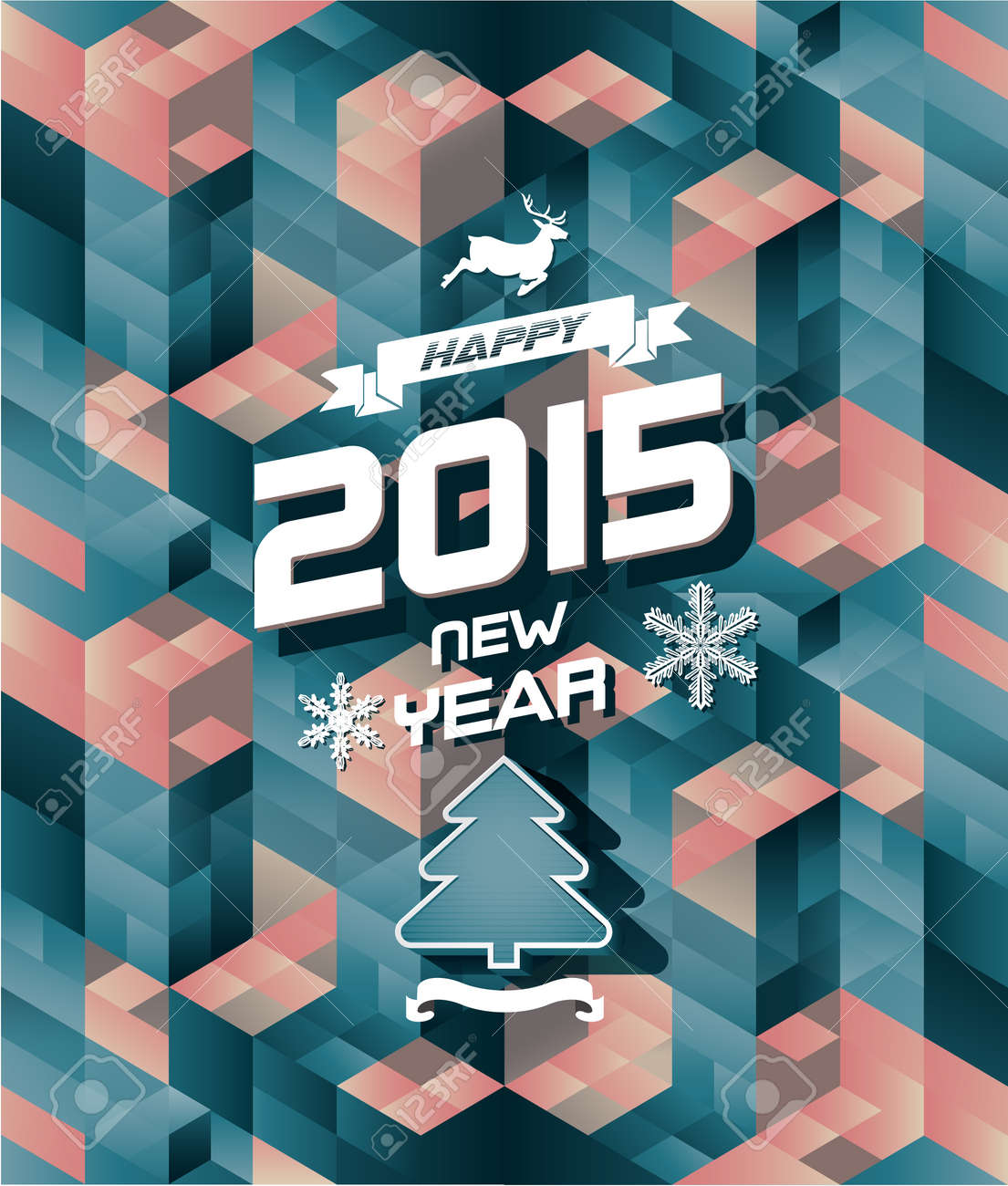 Abstract retro modern happy new year background - 32693729