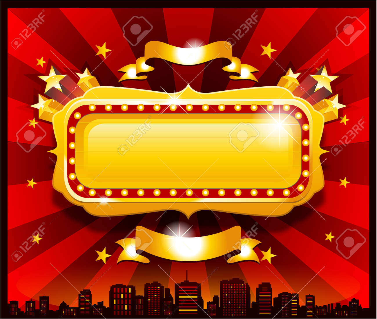 Vintage golden circus casino banner - 33513083