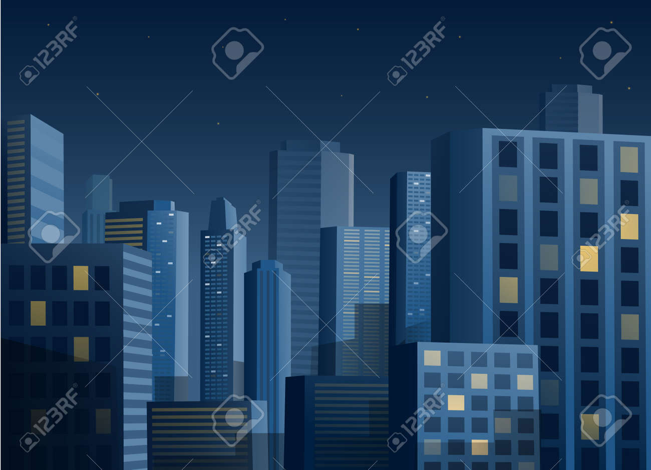 Cityscape at night vector illustration background - 39766704