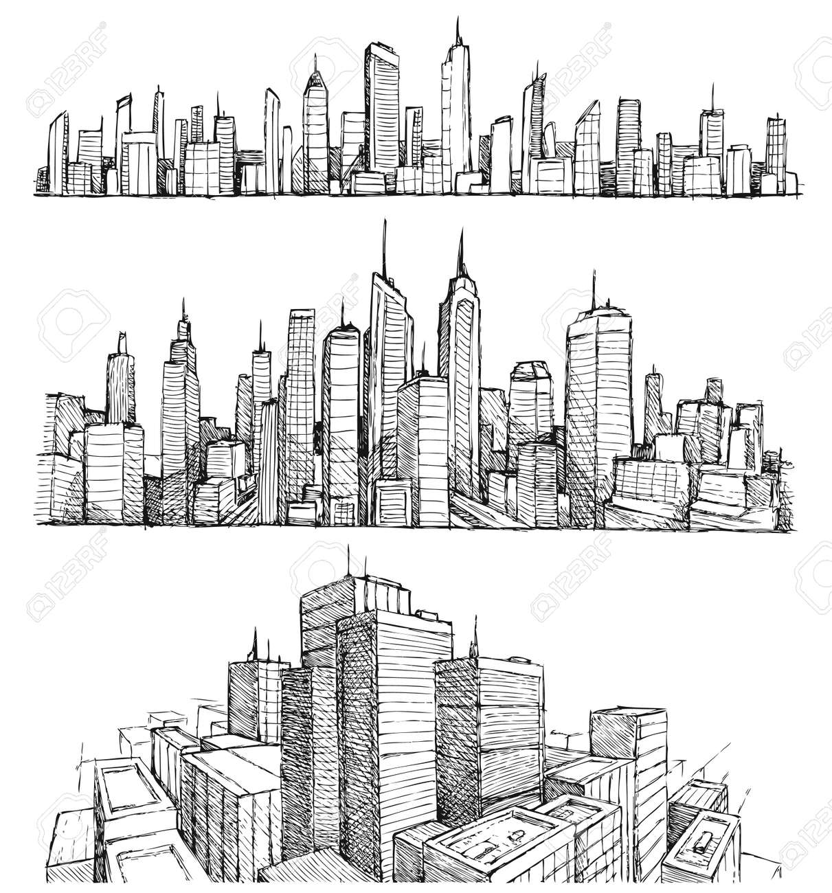 Hand drawn big cities cityscapes and buildings - 41235097