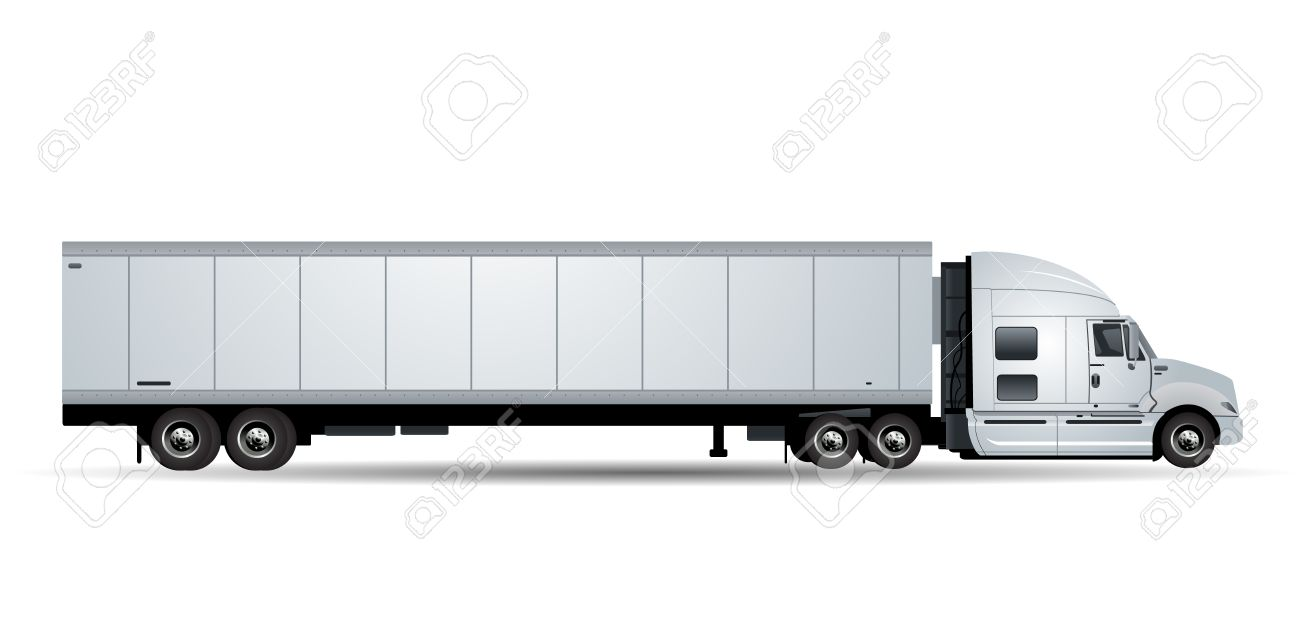 Vector truck with trailer isolated on white background - 43011750