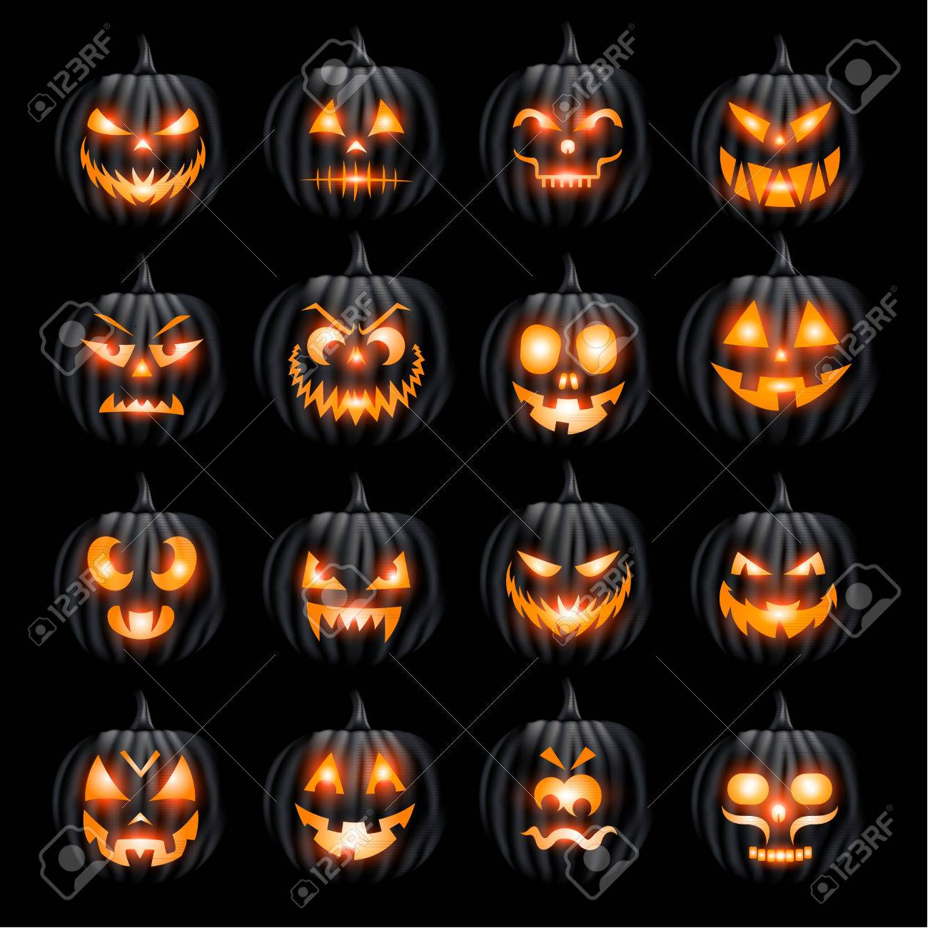 Pumpins Jack O Lantern Halloween Face Set On Black Background Royalty Free Cliparts Vectors And Stock Illustration Image 44512501