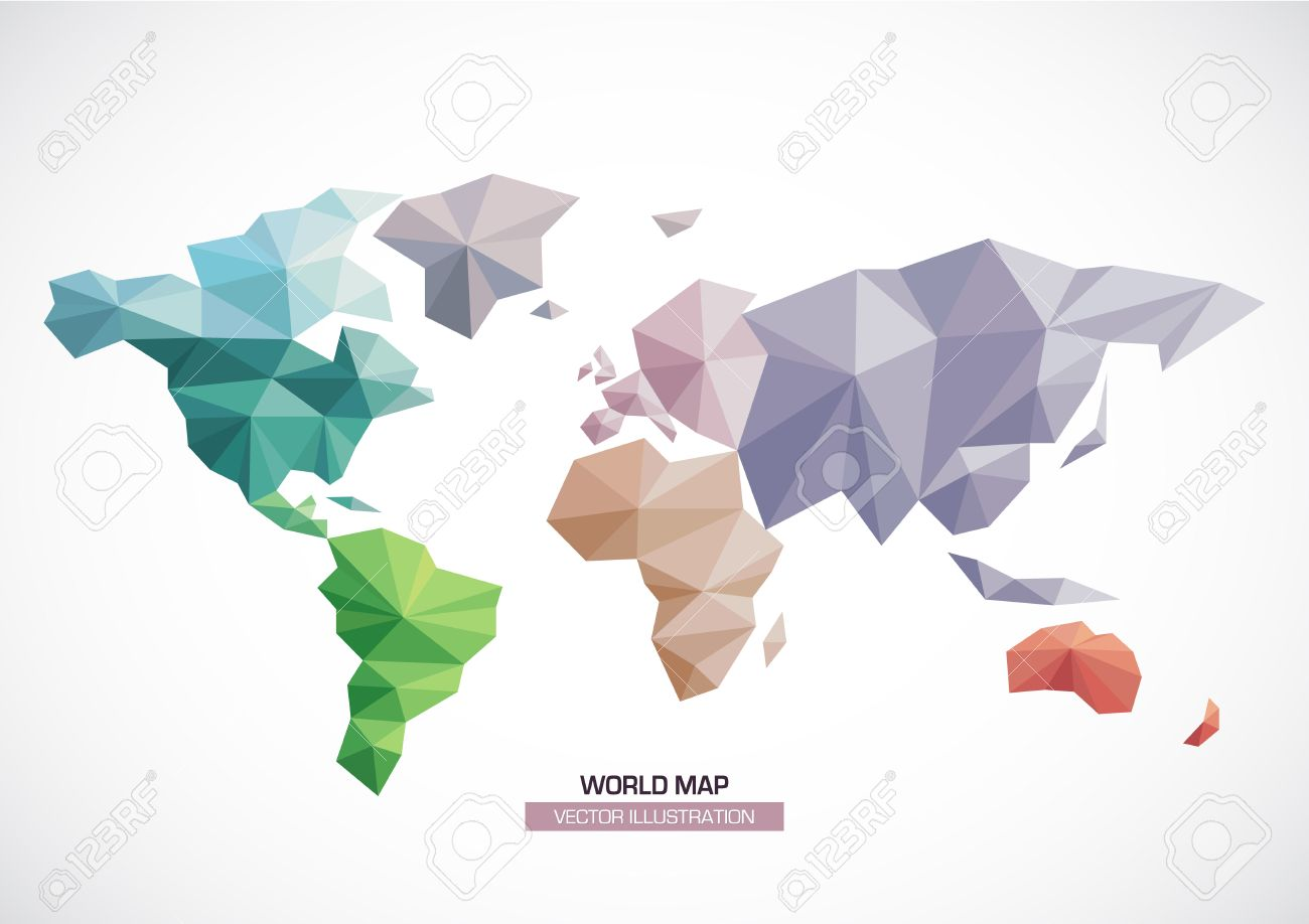 Vector world map design triangle pattern continents with differents vector vector world map design triangle pattern continents with differents colors gumiabroncs Gallery
