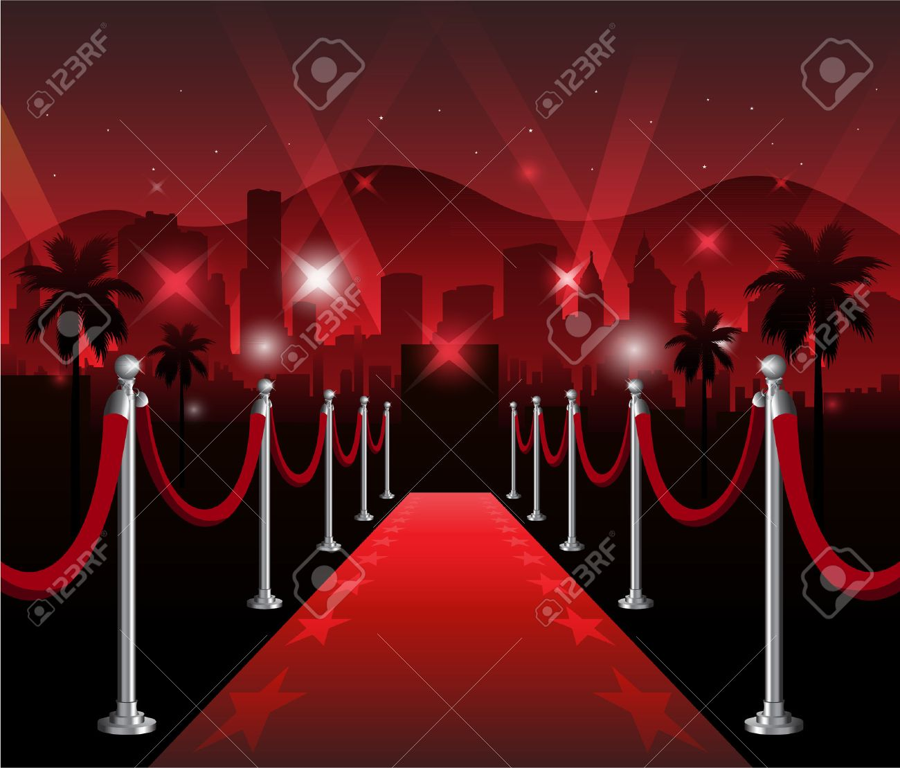 Red carpet premiere elegant event with hollywood in background - 48367612