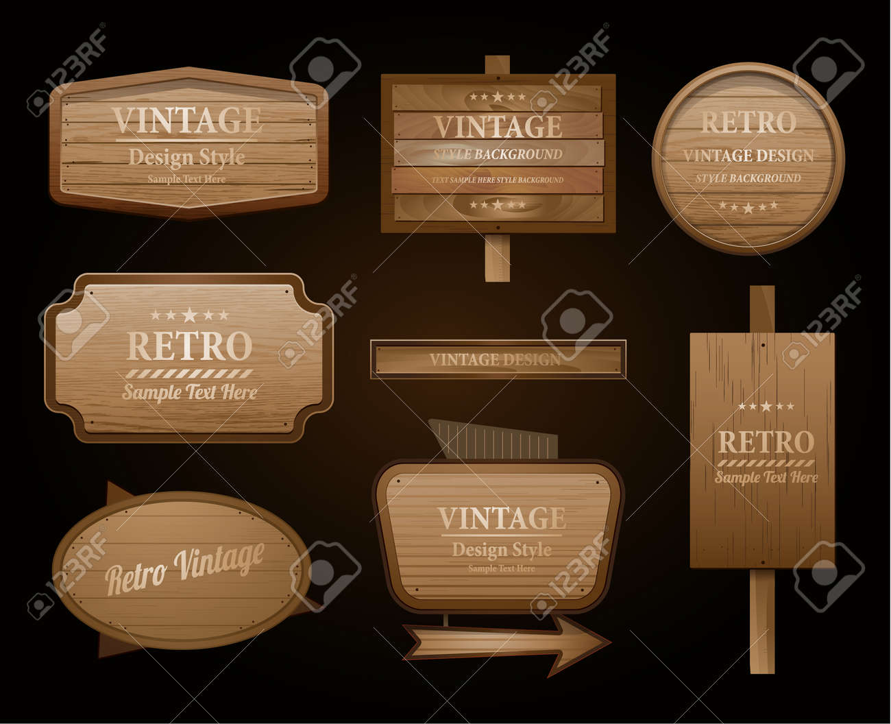 Realistic vector wood sign and banner isolated on black - 50989922