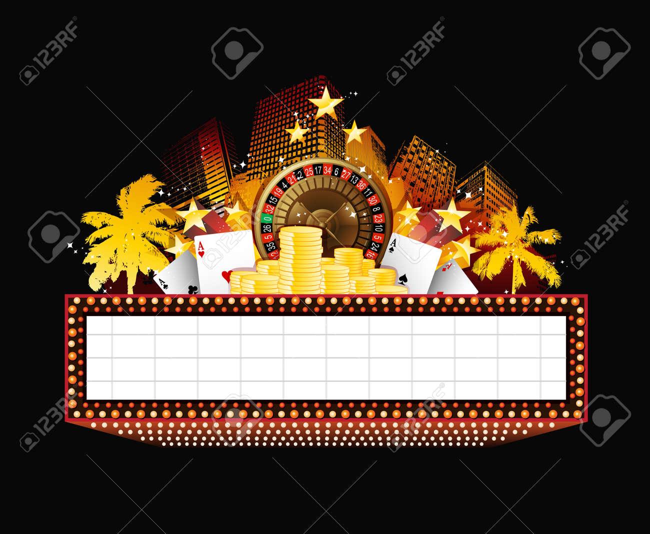Brightly vintage glowing retro casino neon sign - 51224341