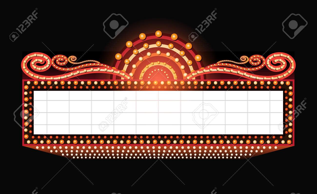 Brightly vintage glowing retro cinema neon sign - 51224342