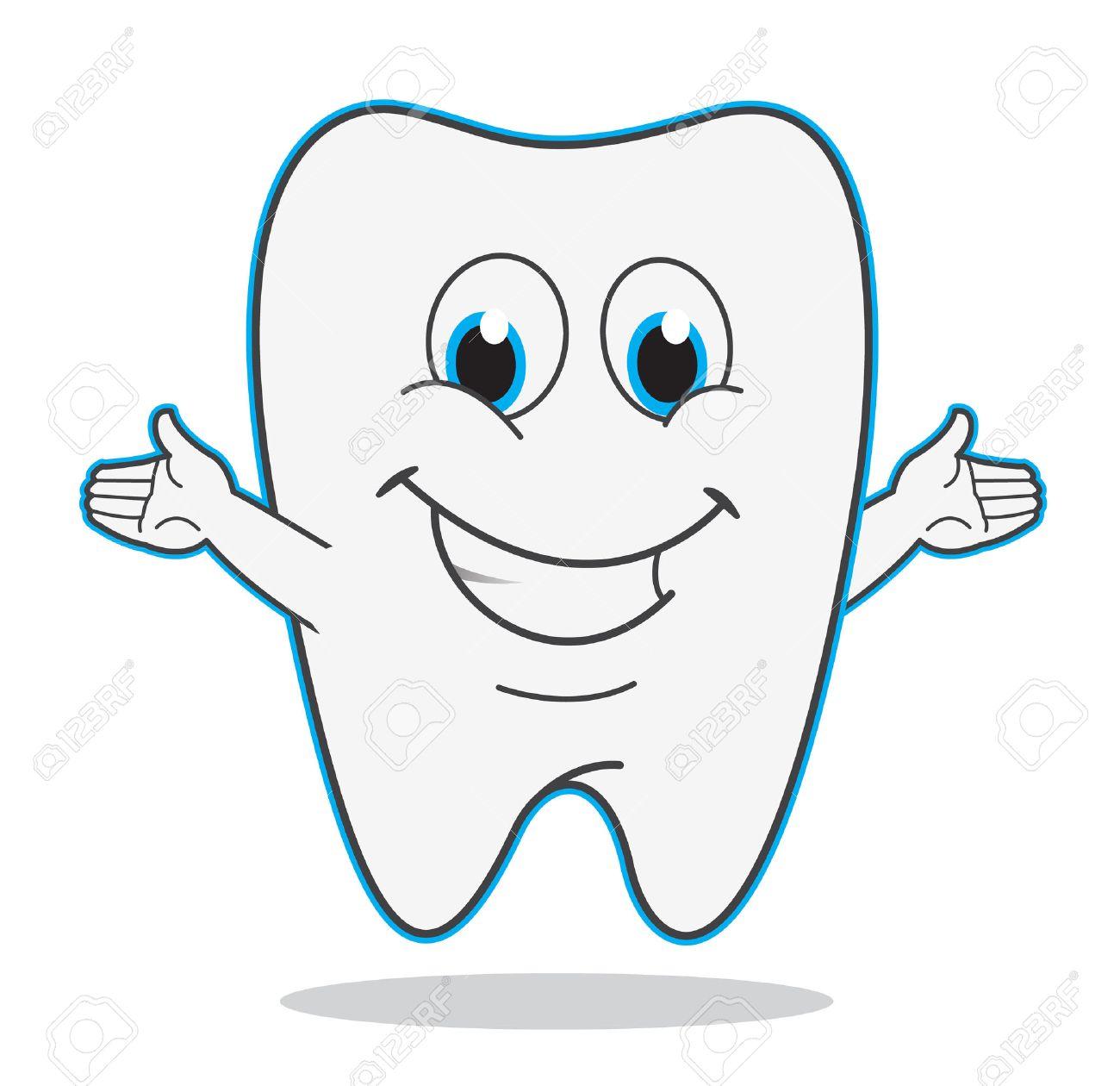 かわいい漫画歯笑顔イラスト歯医者シンボル ロイヤリティフリー