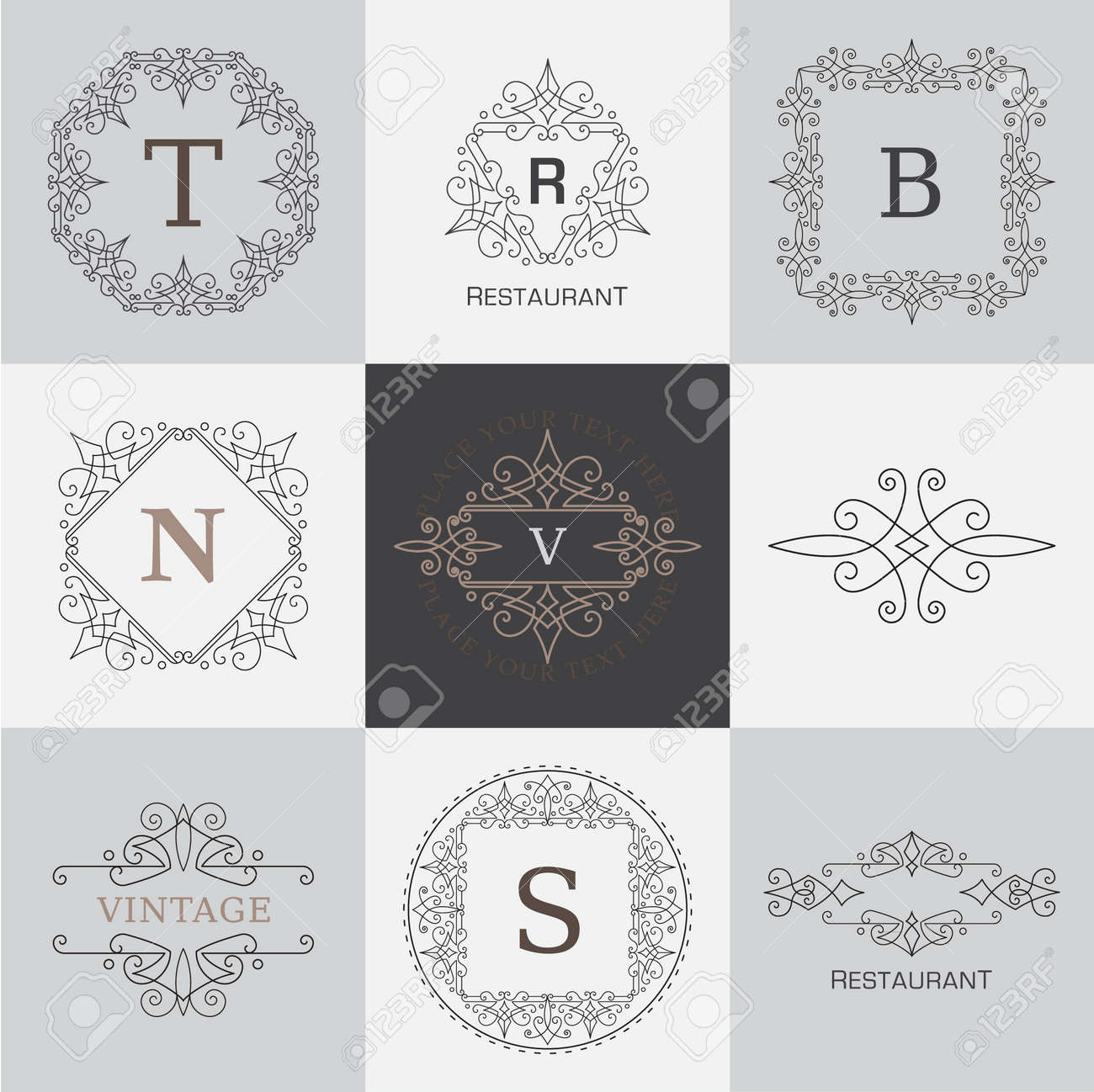 Monogram Letter Template With Flourishes Calligraphic Elegant Ornament Stock Vector