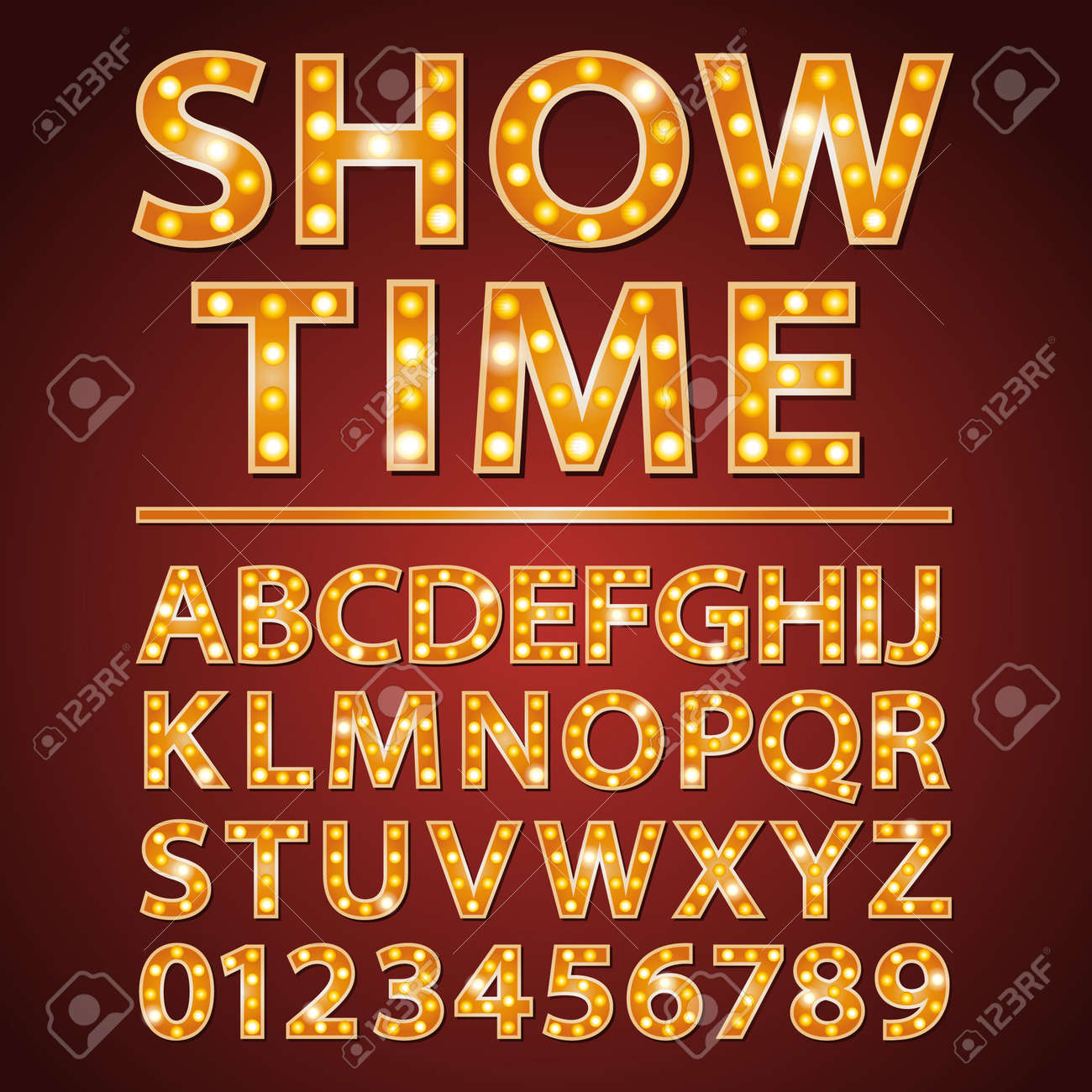 orange neon lamp letters font with show time words - 51553167