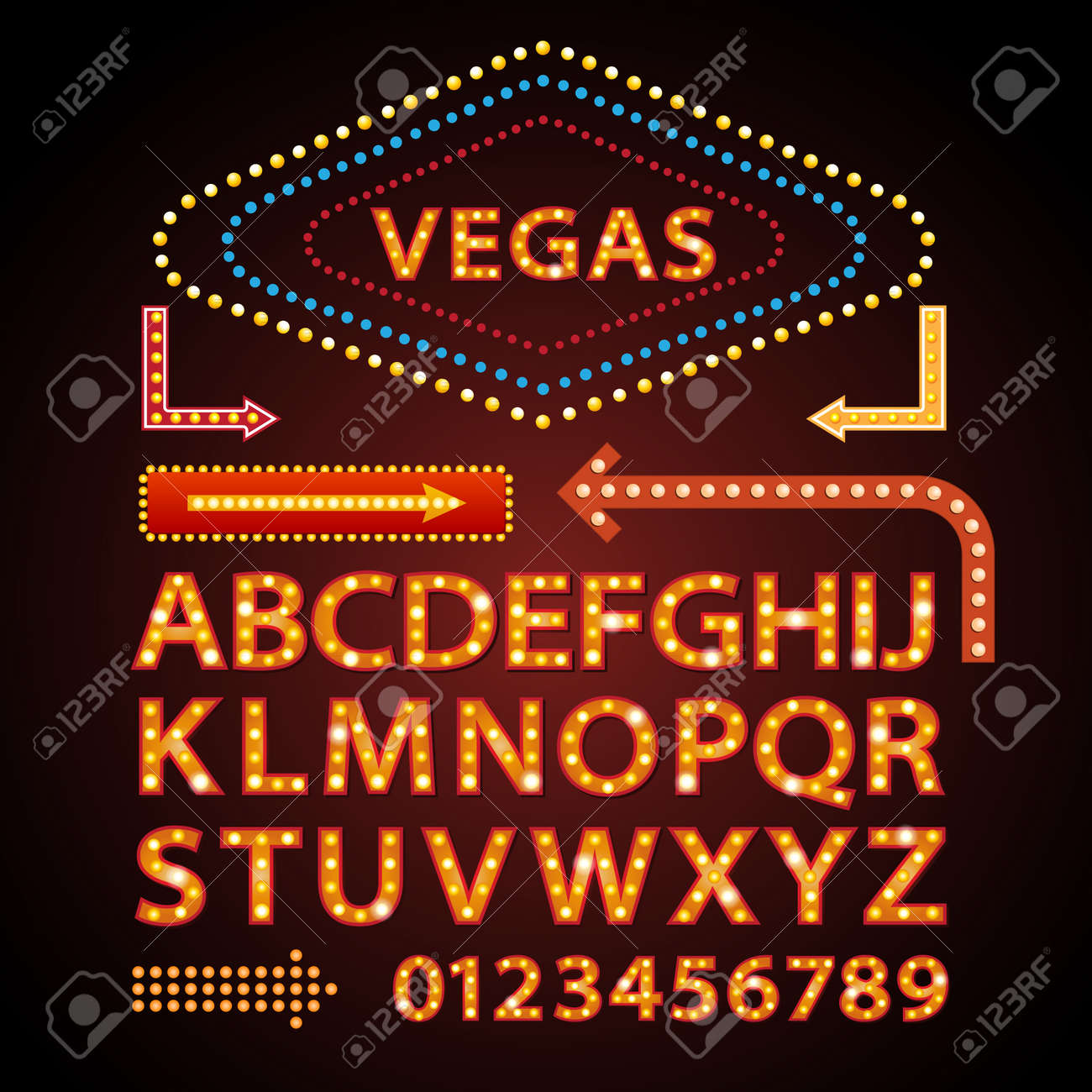 Vector orange neon lamp letters font show cinema and theather - 52622760