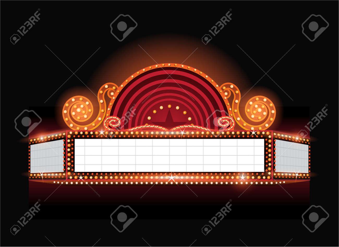 Brightly theater glowing retro cinema neon sign - 53756507