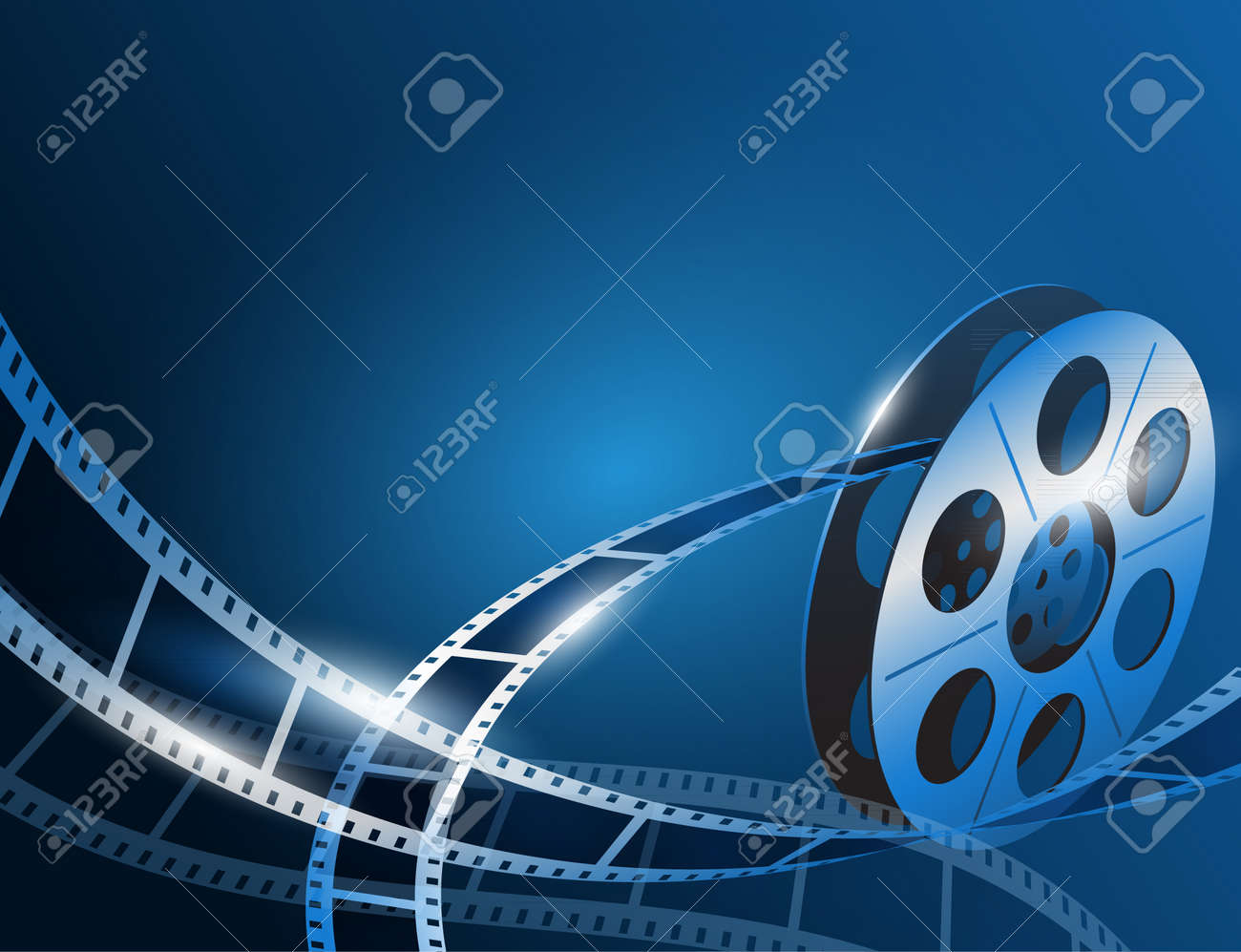 Vector illustration of a film stripe reel on shiny blue movie background - 53756512