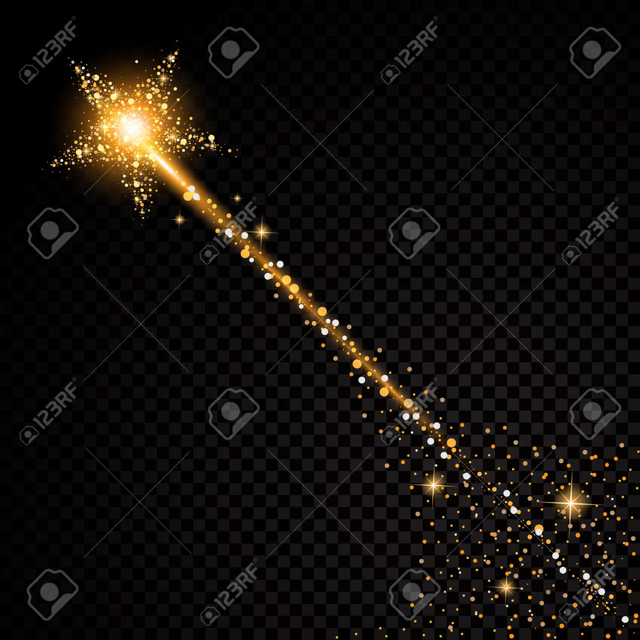 Gold glitter bright vector transparent background golden sparkles - Gold Glittering Star Dust Trail Sparkling Particles On Transparent Background Stock Vector 57887963