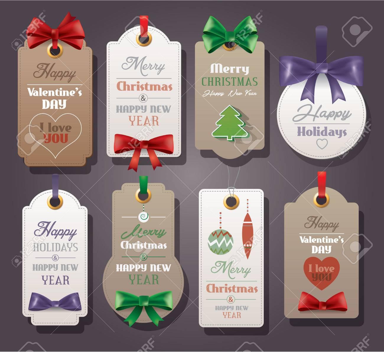 conjunto de etiquetas de la vendimia con lazos de seda para el día
