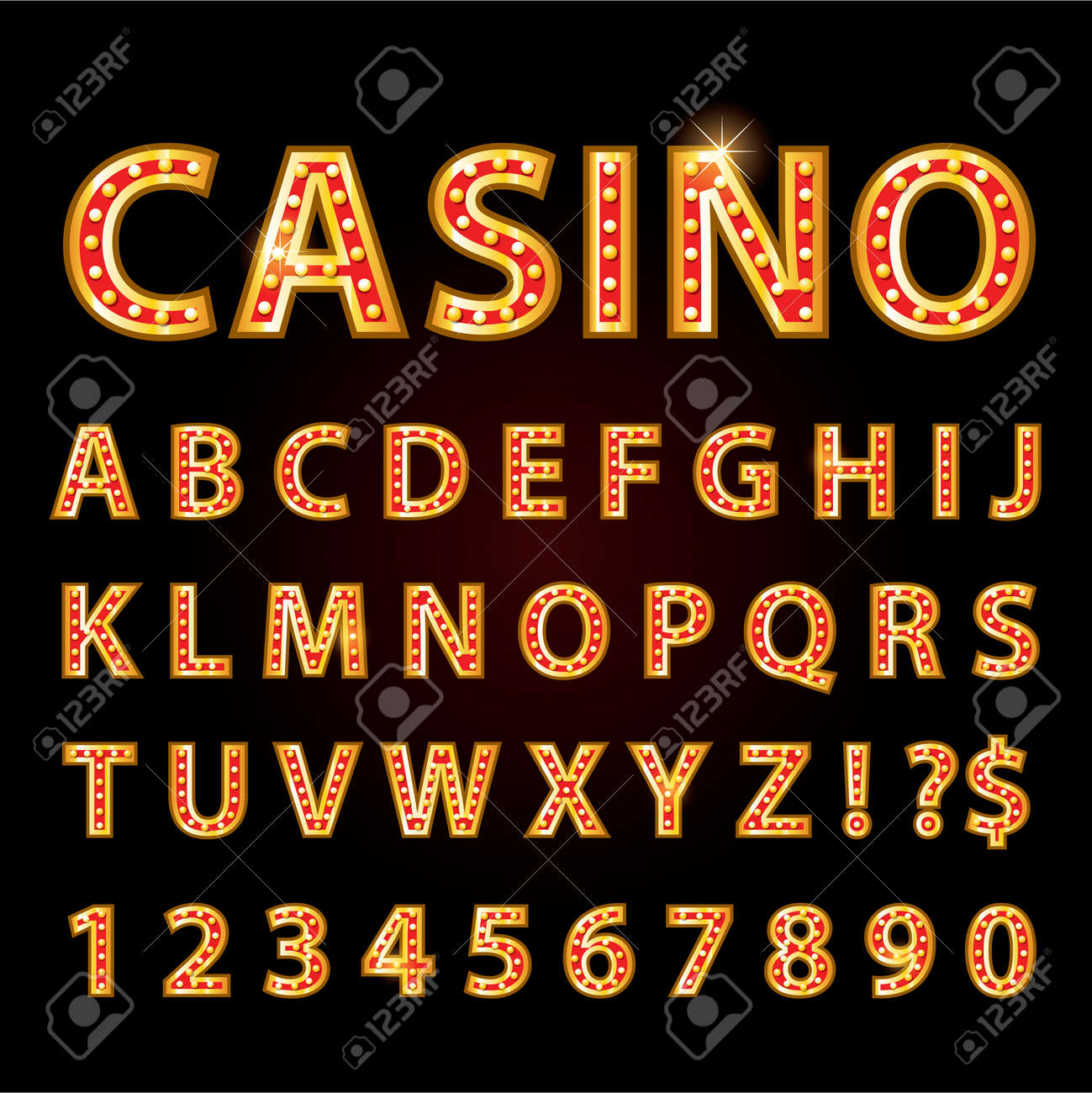 Vector orange neon lamp letters font show casino and theather - 59194579