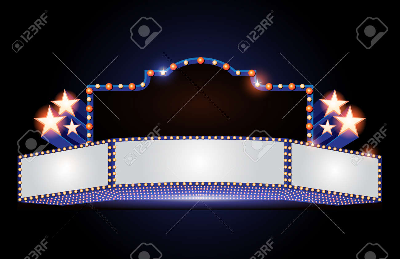 Brightly theater glowing retro cinema neon sign - 69464352