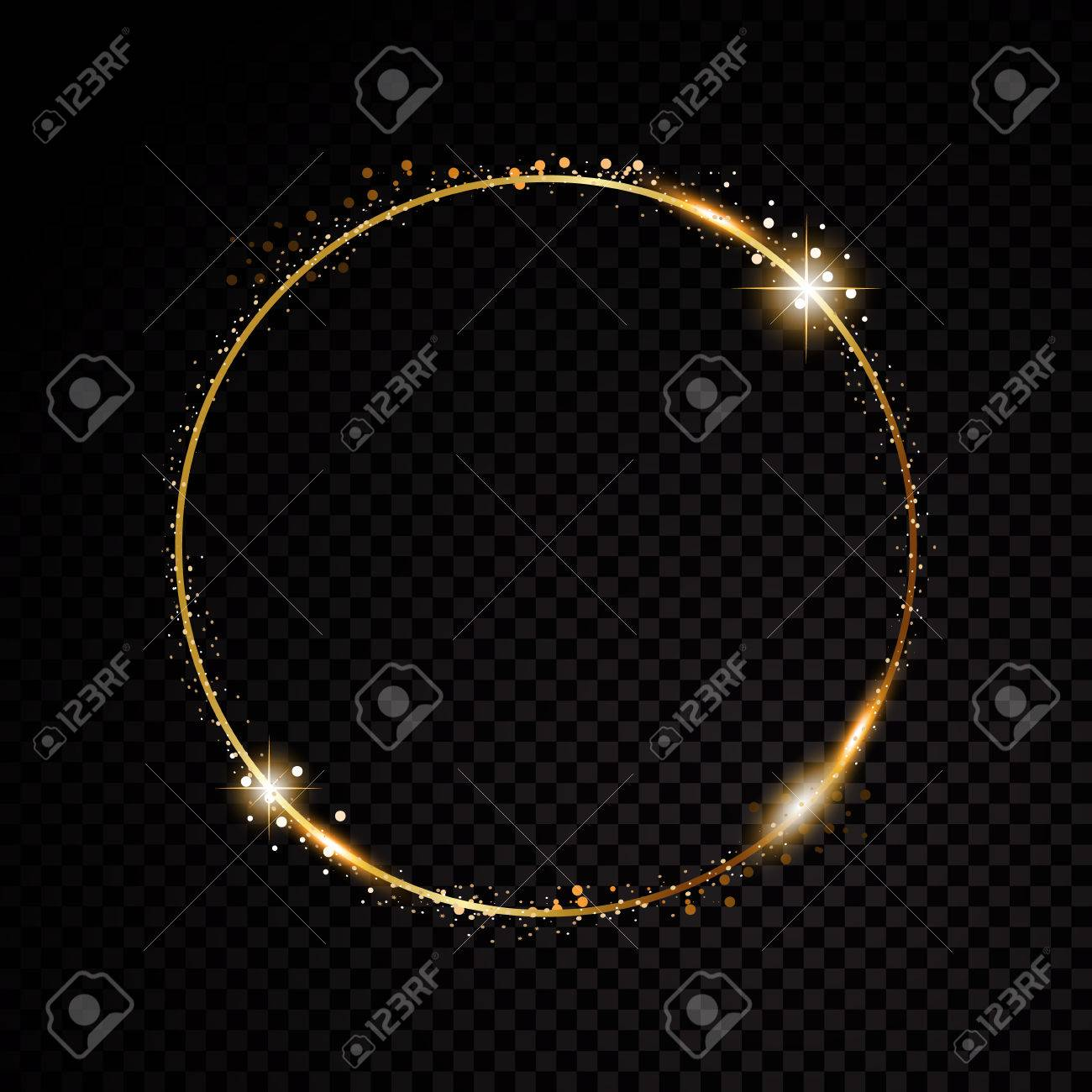 Vector round frame. Shining circle banner. Isolated on black transparent background. Vector illustration - 72841511