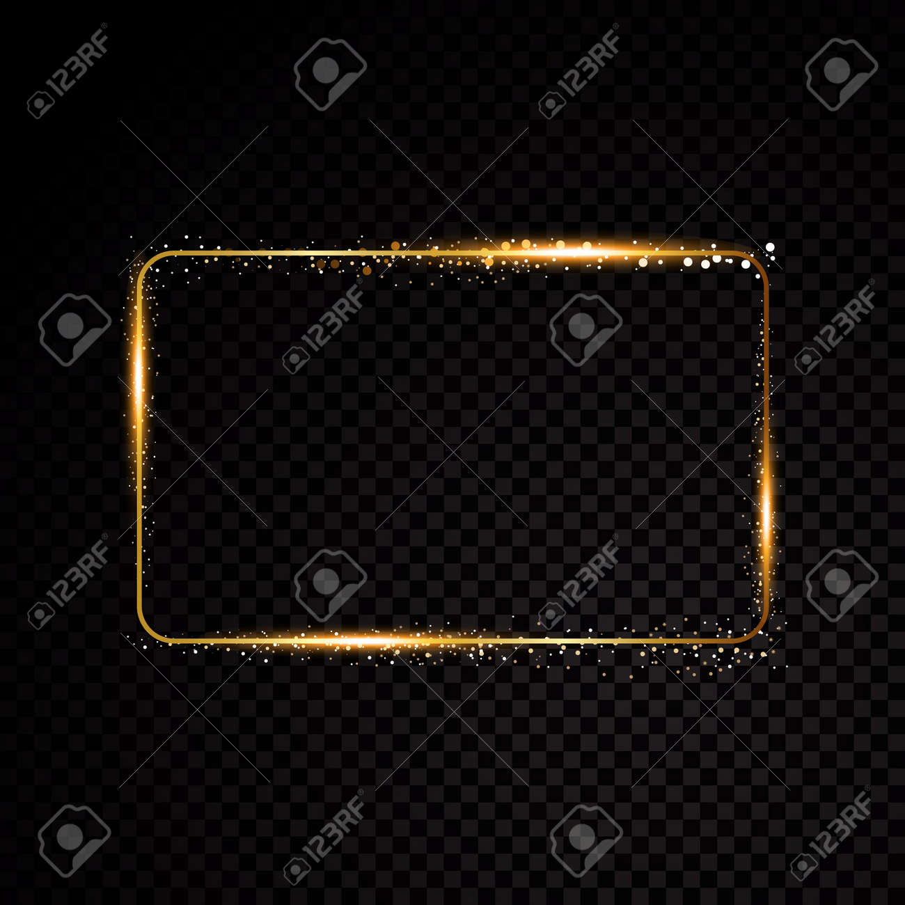 Vector rectangle frame. Shining banner. Isolated on black transparent background. Vector illustration - 73037038