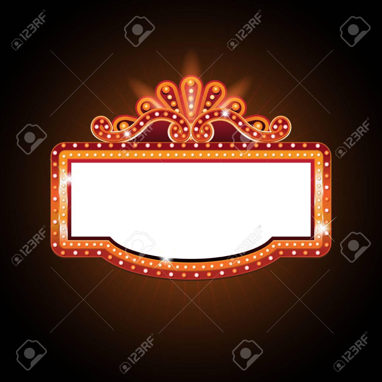 Brightly theater glowing retro cinema neon sign - 74641176